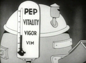 Screenshots from the 1936 Fleischer Studio cartoon More Pep