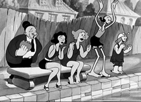 Screenshots from the 1936 Fleischer Studio cartoon I Wanna Be a Lifeguard