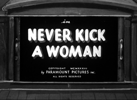 Screenshots from the 1936 Fleischer Studio cartoon Never Kick a Woman