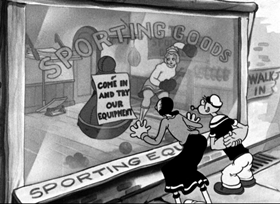 Screenshots from the 1936 Fleischer Studio cartoon Never Kick a Woman