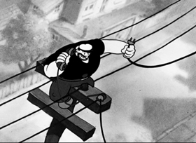 Screenshots from the 1936 Fleischer Studio cartoon Hold the Wire