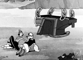 Screenshots from the 1936 Fleischer Studio cartoon The Spinach Roadster