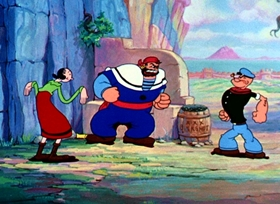 Screenshots from the 1936 Fleischer Studio cartoon Popeye the Sailor Meets Sindbad the Sailor