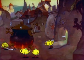 Screenshots from the 1936 Bray Studios cartoon Tea Pot Town