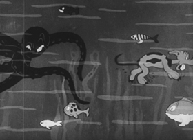 Screenshots from the 1936 Walter Lantz cartoon Beachcombers