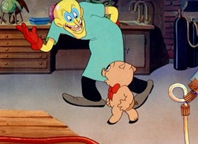 Screenshots from the 1937 Warner Brothers cartoon Pigs Is Pigs