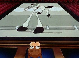Screenshots from the 1937 Warner Brothers cartoon She Was an Acrobat