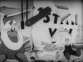 Screenshots from the 1937 Warner Brothers cartoon Porky and Gabby