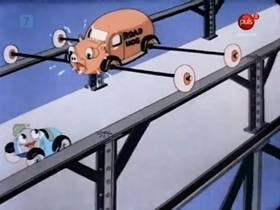 Screenshots from the 1937 Warner Brothers cartoon Streamlined Greta Green