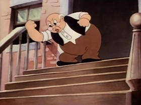 Screenshots from the 1937 Warner Brothers cartoon Egghead Rides Again