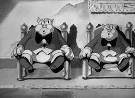 Screenshots from the 1937 Warner Brothers cartoon The Case of the Stuttering Pig