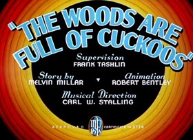 Screenshots from the 1937 Warner Brothers cartoon The Woods are Full of Cuckoos