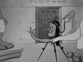 Screenshots from the 1937 Warner Brothers cartoon Porky
