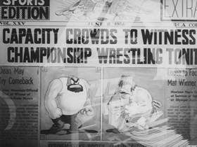 Screenshots from the 1937 Warner Brothers cartoon Porky the Wrestler