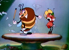 Screenshots from the 1937 Disney cartoon Woodland Café