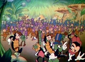 Screenshots from the 1937 Disney cartoon Woodland Café