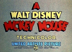 Screenshots from the 1937 Disney cartoon Mickey