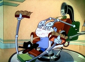 Screenshots from the 1937 Disney cartoon Modern Inventions