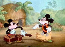 Screenshots from the 1937 Disney cartoon Hawaiian Holiday