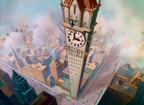 Screenshots from the 1937 Disney cartoon Clock Cleaners