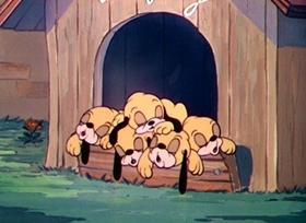 Screenshots from the 1937 Disney cartoon Pluto