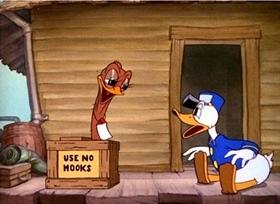 Screenshots from the 1937 Disney cartoon Donald