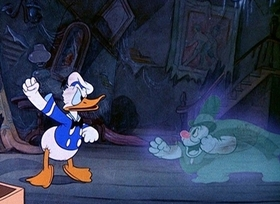 Screenshots from the 1937 Disney cartoon Lonesome Ghosts