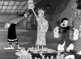 Screenshots from the 1937 Fleischer Studio cartoon My Artistical Temperature