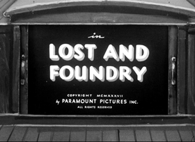 Screenshots from the 1937 Fleischer Studio cartoon Lost and Foundry