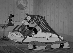 Screenshots from the 1937 Fleischer Studio cartoon Service With a Smile