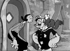 Screenshots from the 1937 Fleischer Studio cartoon Proteck the Weakerist