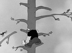 Screenshots from the 1937 Fleischer Studio cartoon Fowl Play