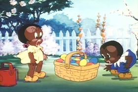 Screenshots from the 1937 MGM cartoon Bosko