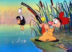 Screenshots from the 1938 Warner Brothers cartoon Daffy Duck and Egghead