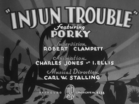 Screenshots from the 1938 Warner Brothers cartoon Injun Trouble