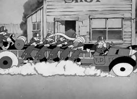 Screenshots from the 1938 Warner Brothers cartoon Porky the Fireman