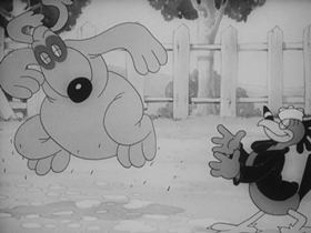 Screenshots from the 1938 Warner Brothers cartoon Porky