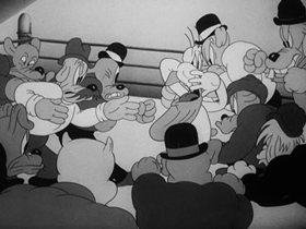 Screenshots from the 1938 Warner Brothers cartoon Porky and Daffy