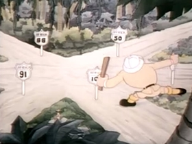 Screenshots from the 1938 Warner Brothers cartoon The Major Lied
