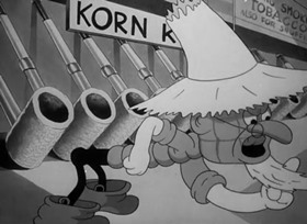 Screenshots from the 1938 Warner Brothers cartoon Wholly Smoke