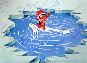 Screenshots from the 1938 Warner Brothers cartoon Cracked Ice