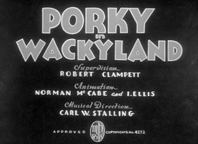 Screenshots from the 1938 Warner Brothers cartoon Porky in Wackyland