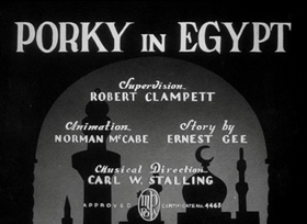 Screenshots from the 1938 Warner Brothers cartoon Porky in Egypt