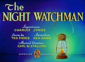 Screenshots from the 1938 Warner Brothers cartoon The Night Watchman