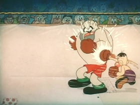 Screenshots from the 1938 Warner Brothers cartoon Count Me Out