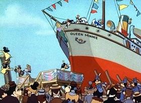 Screenshots from the 1938 Disney cartoon Boat Builders