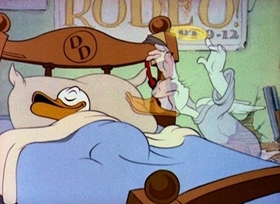 Screenshots from the 1938 Disney cartoon Donald