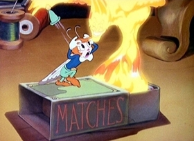 Screenshots from the 1938 Disney cartoon Moth and the Flame