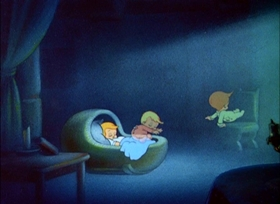 Screenshots from the 1938 Disney cartoon Wynken, Blynken and Nod