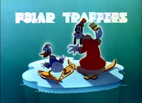 Screenshots from the 1938 Disney cartoon Polar Trappers